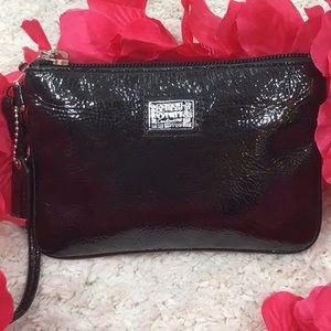 Coach Poppy black patent leather wristlet